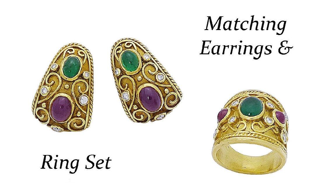18k Gold Ruby Diamond & Emerald Ring & Earrings