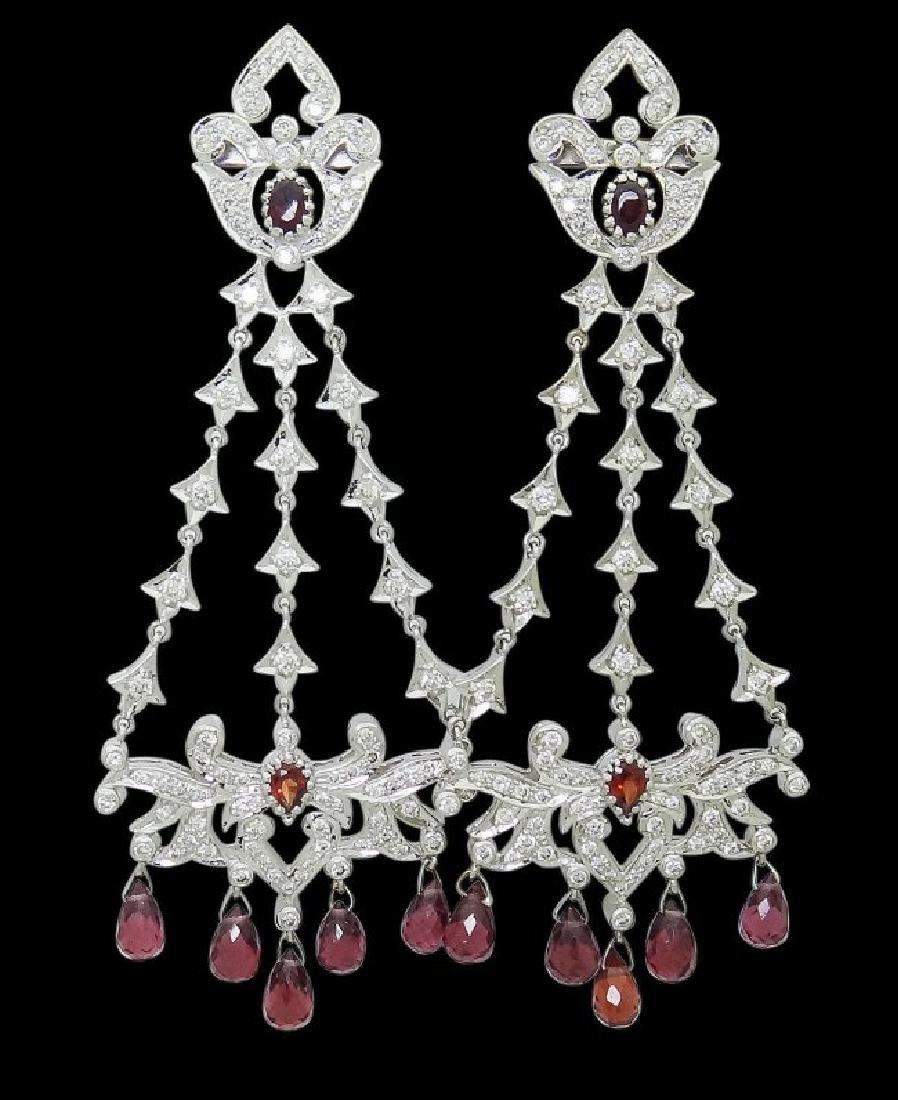 18k Gold 6.50 TCW Diamond & Garnet Chandelier Earrings