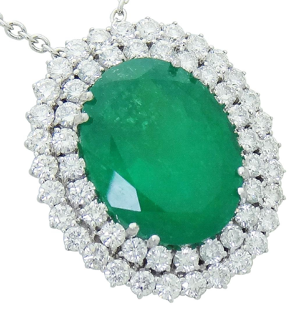 18K White Gold over 21 Ct Emerald and Diamond Necklace