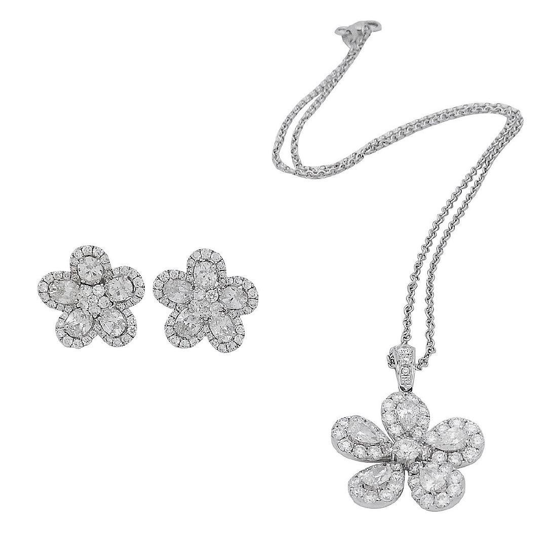 18k Gold 8.00 TCW Brilliant Diamond Earrings & Necklace