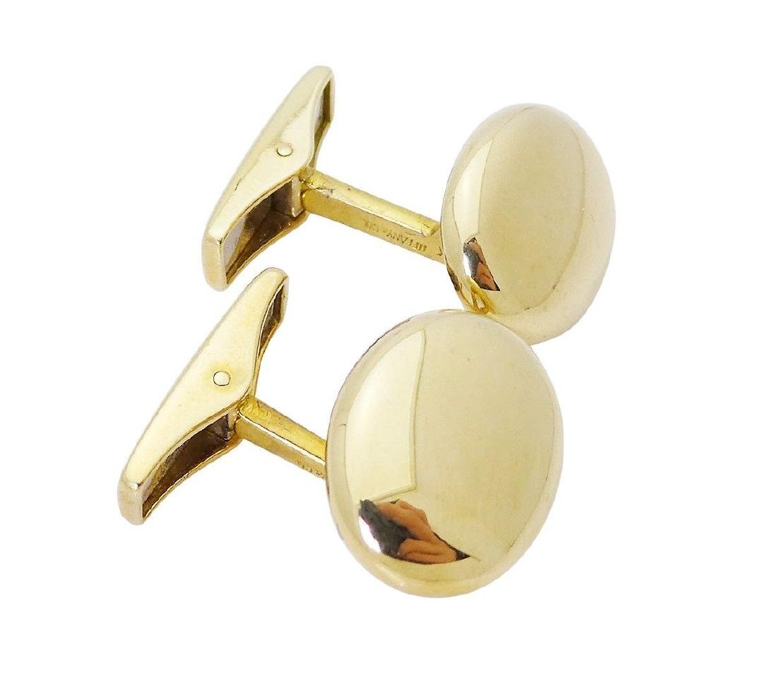 Tiffany & Co. 18k Gold German Polished Oval Cufflinks