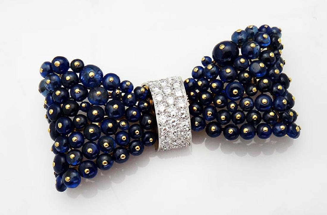 Van Cleef & Arpels 18K 30CT Sapphire 5CT Diamond Brooch