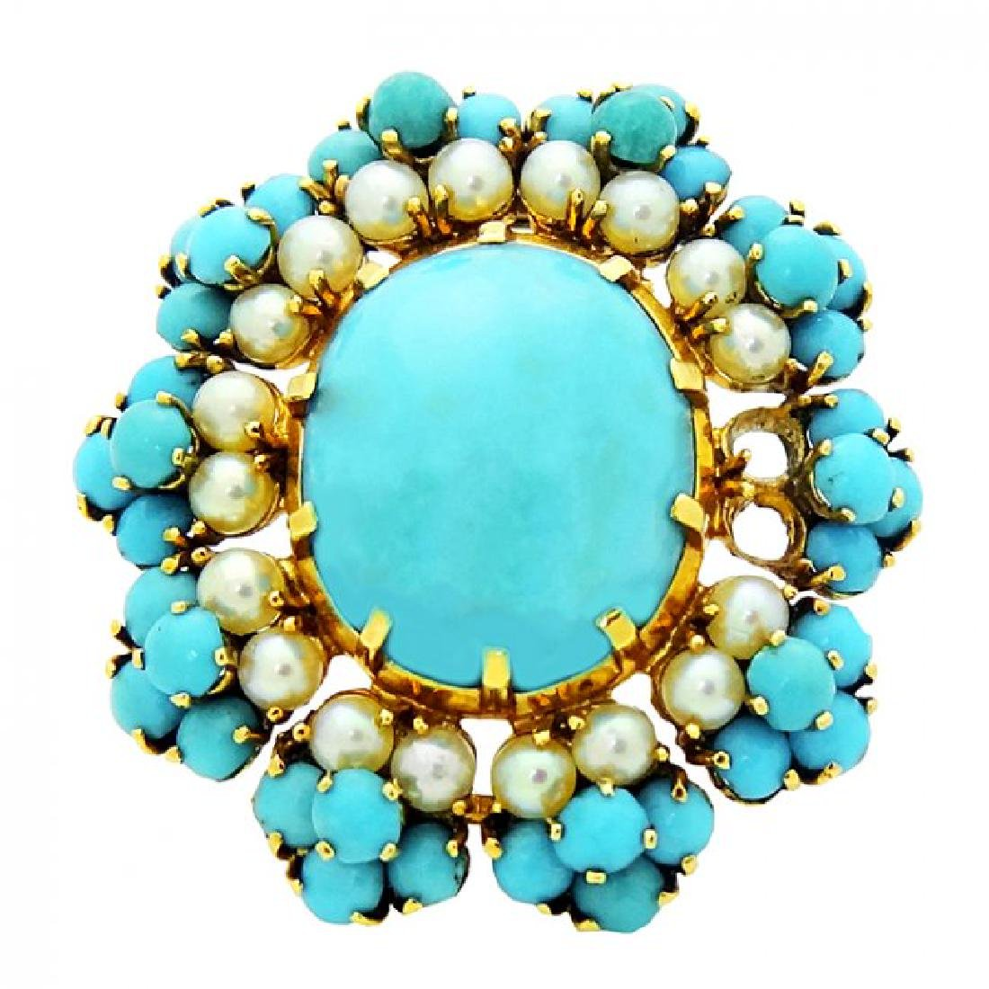 Vintage 18k French turquoise center broach
