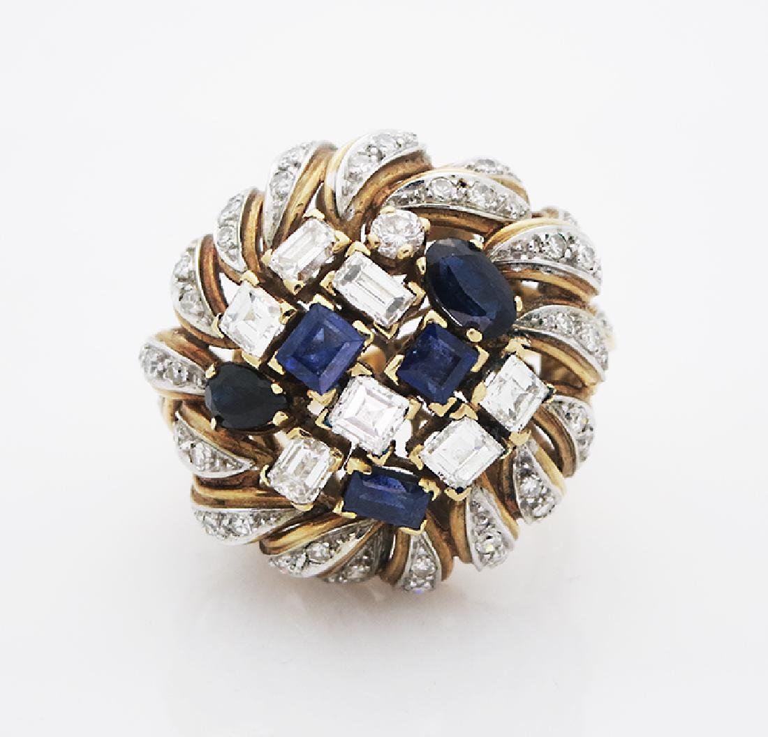 Estate 18K Yellow Gold Diamonds Sapphire Cocktail Ring