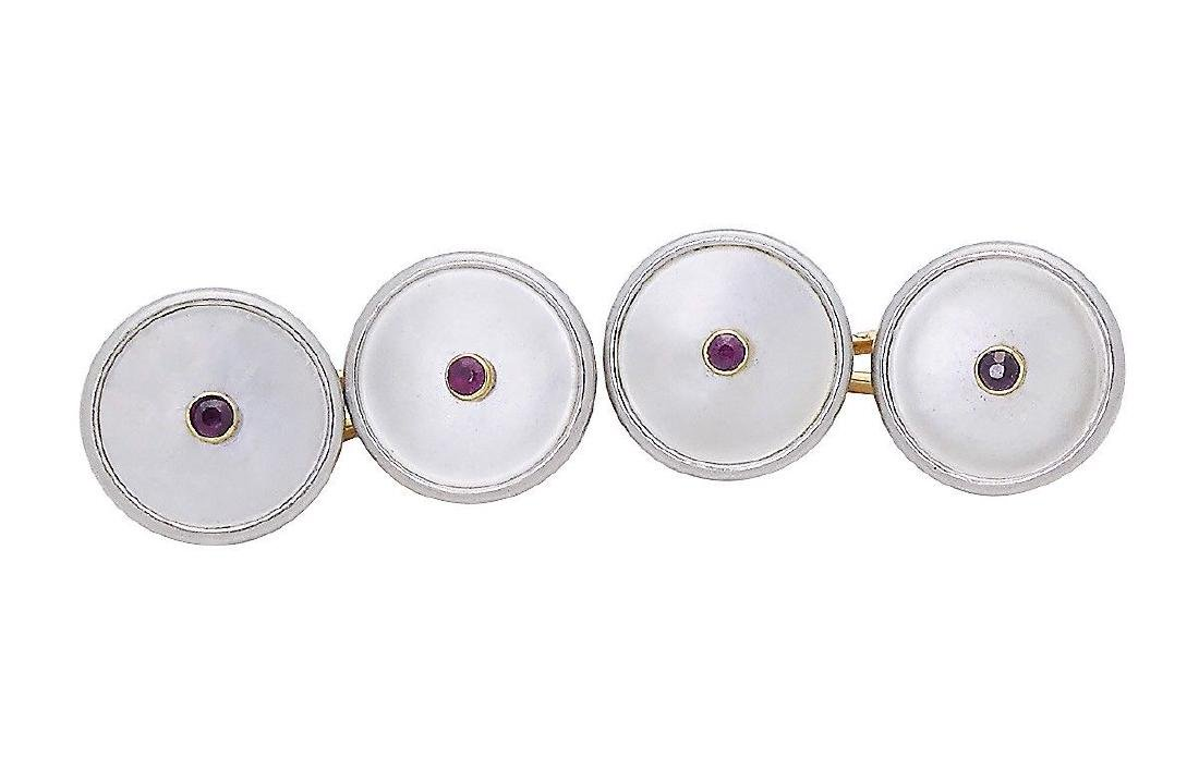 Russian 14k Gold Cufflinks Mother Of Pearl & Ruby