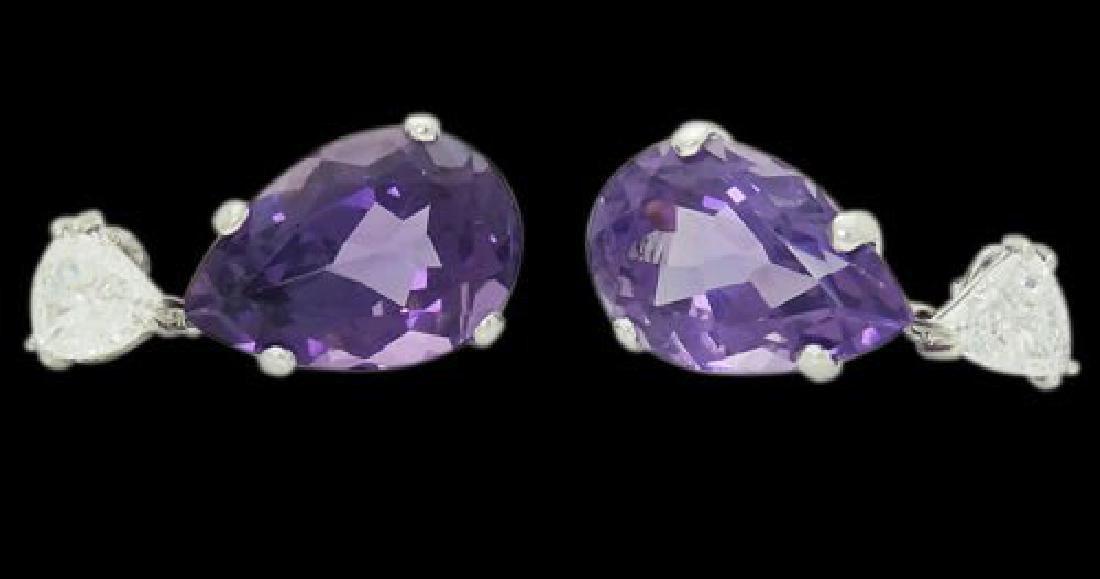 14k Gold 1.85 TCW Diamond & Amethyst Dangle Earrings