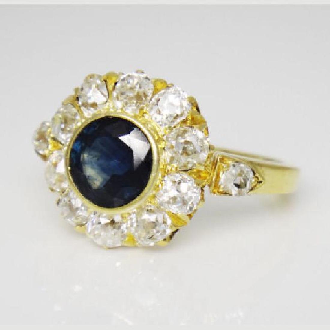Antique Cluster 18K 2.5CT Diamond & Sapphire Ring