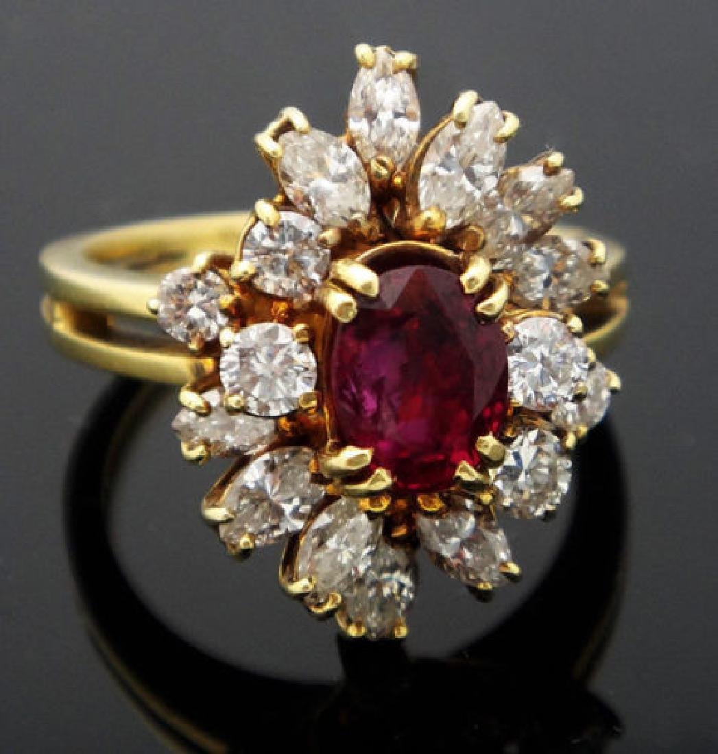 18k Yellow Gold 2.75ct Diamond & Ruby Cluster Ring size