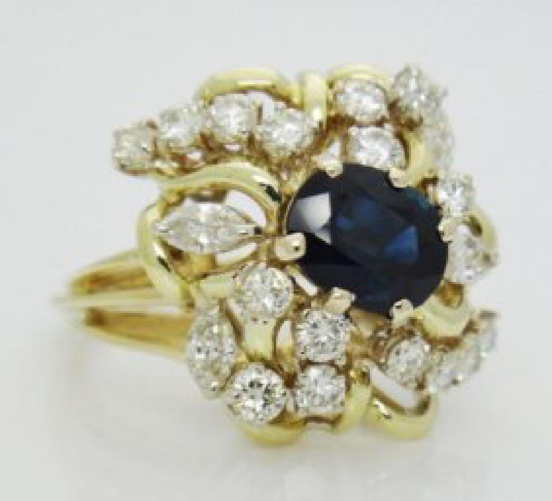 Estate 18k 3.25TCW Natural Sapphire & Diamond Ring