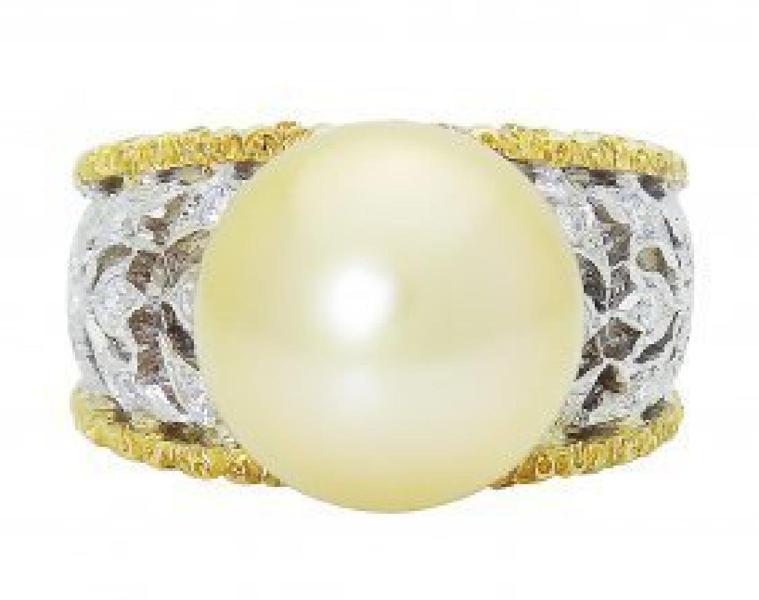 Buccellati 18k Two Tone Gold Diamond & Pearl Ring