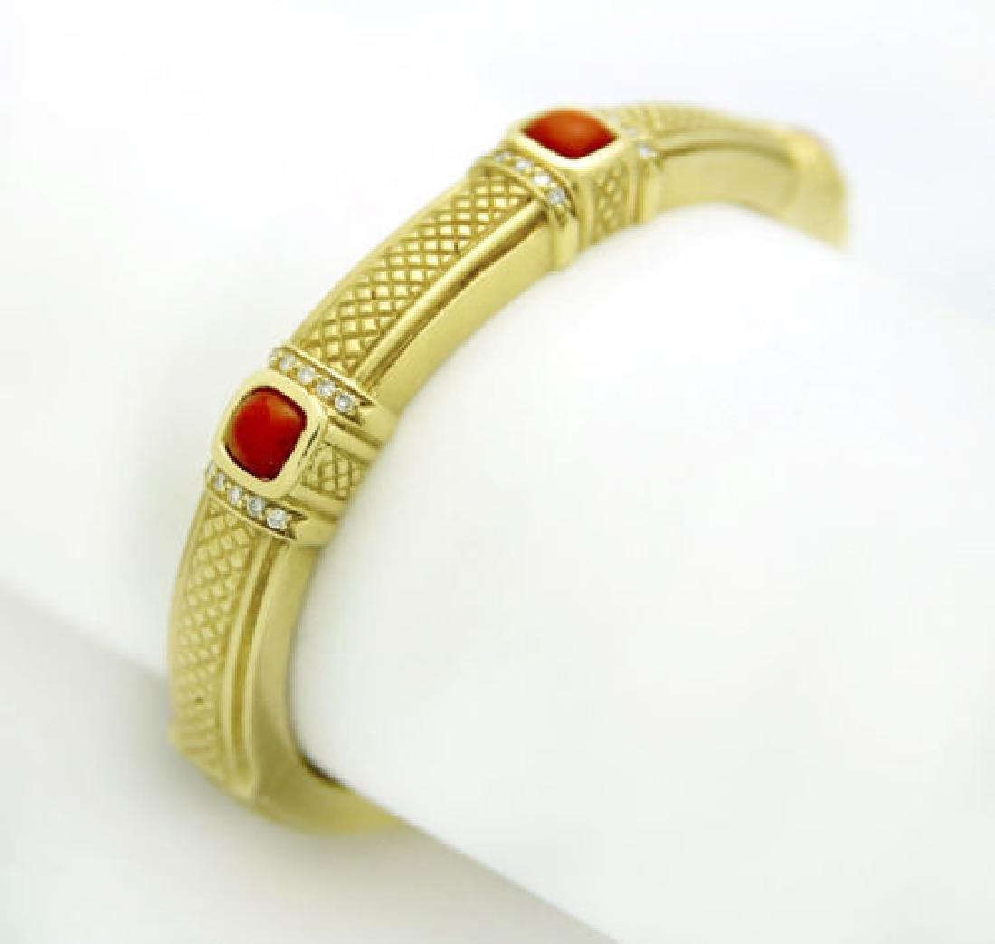 Judith Ripka 18k Gold Carnelian & Diamond Bracelet