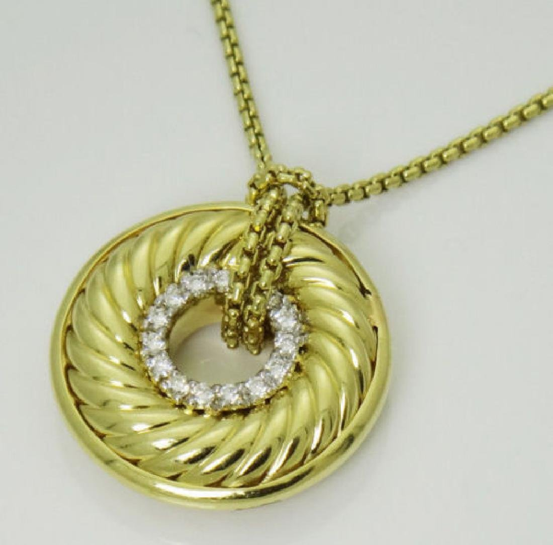 David Yurman 18K Gold Diamond Cable Circle Pendant