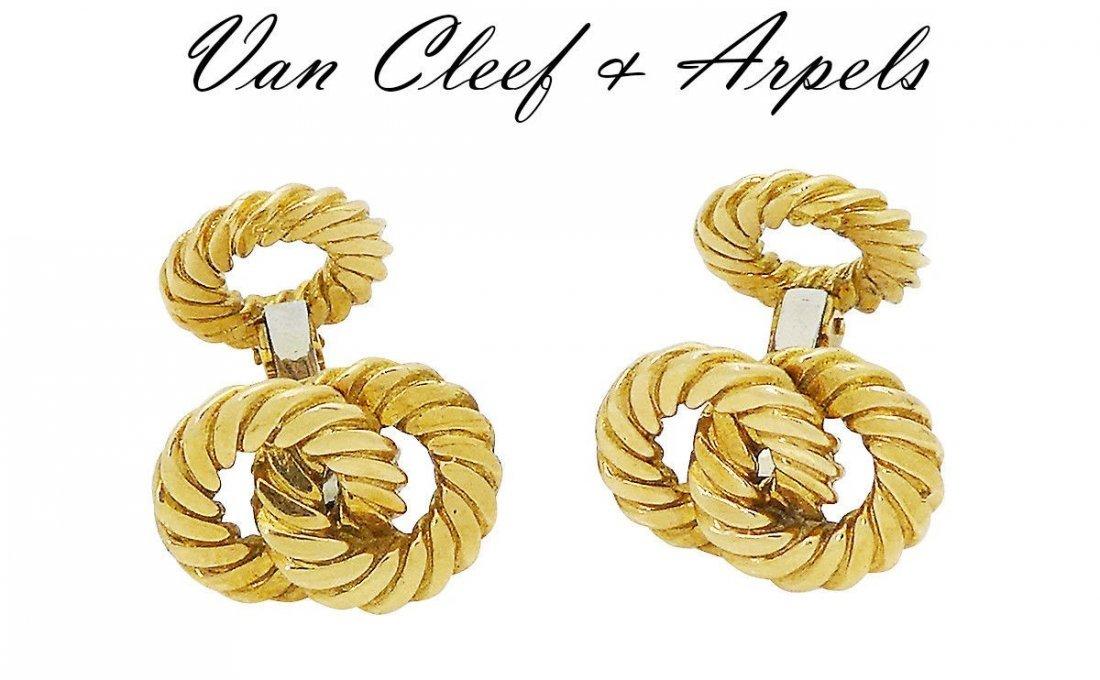 Van Cleef & Arpels 18k Yellow Gold Round Cufflinks