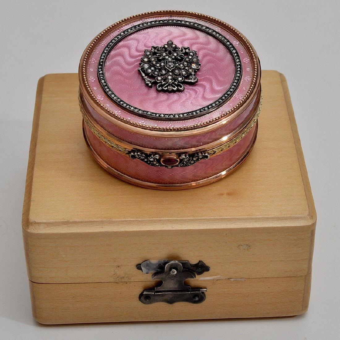 RUSSIAN GOLD & PINK ENAMEL DIAMOND ROUND BOX