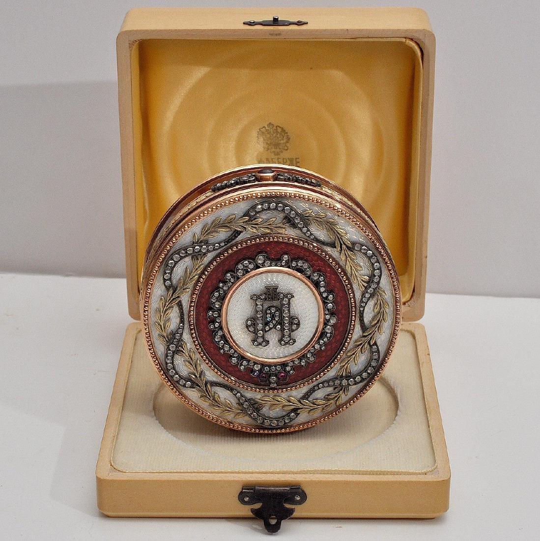 RUSSIAN LARGE GOLD & PINK ENAMEL DIAMOND BOX
