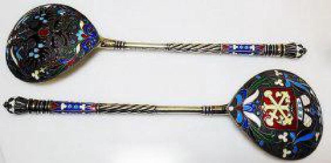 LARGE PAIR OF RUSSIAN SILVER ENAMELED SPOONS