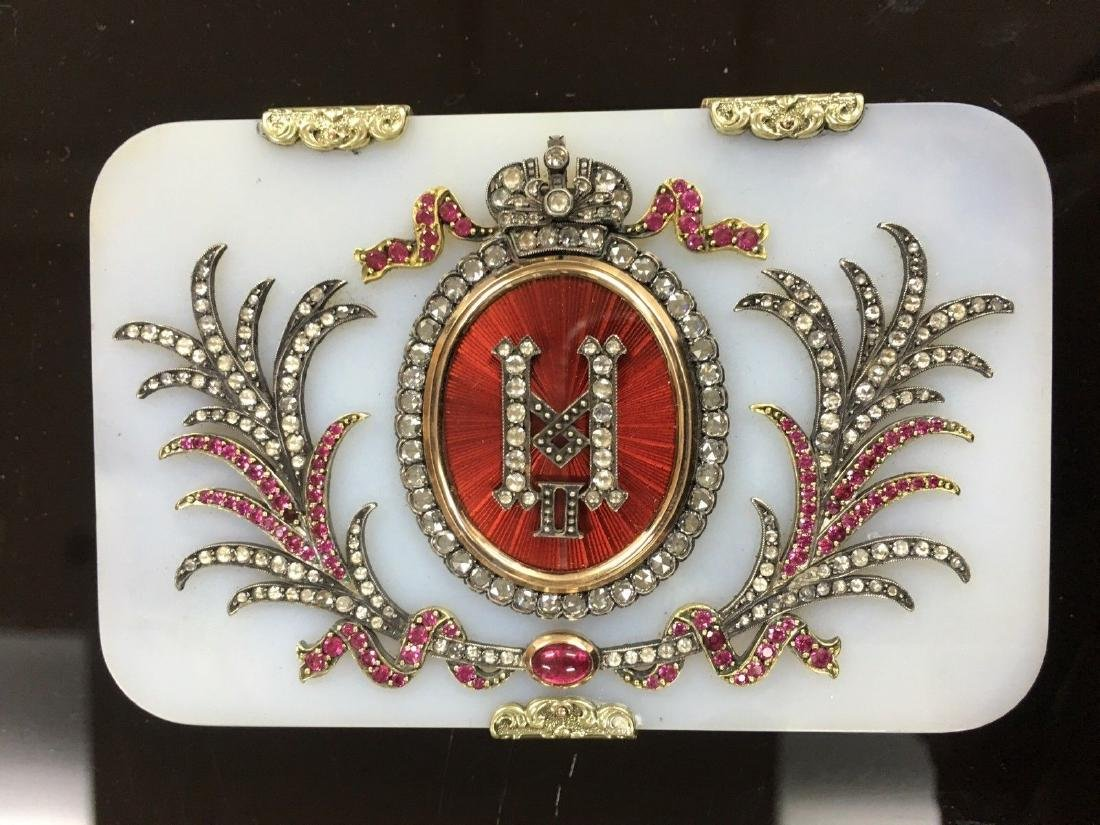 RARE LARGE RUSSIAN WHITE NEPHRITE GOLD ENAMEL DIAMOND