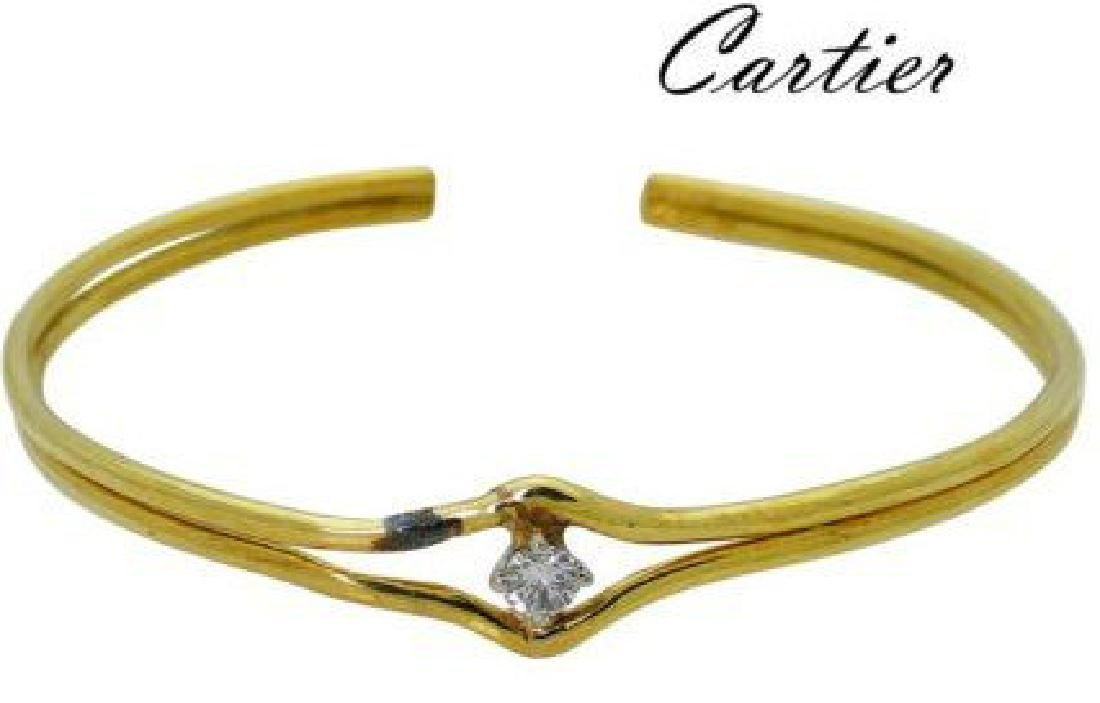 Estate Cartier 18k Yellow Gold Diamond Bangle Bracelet