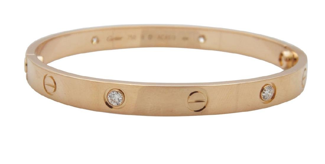 Cartier 18k Pink Gold 0.42tcw Diamond Love Bracelet