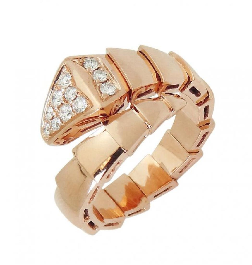 Bulgari 18k Rose Gold & Pave Diamond Serpenti Ring