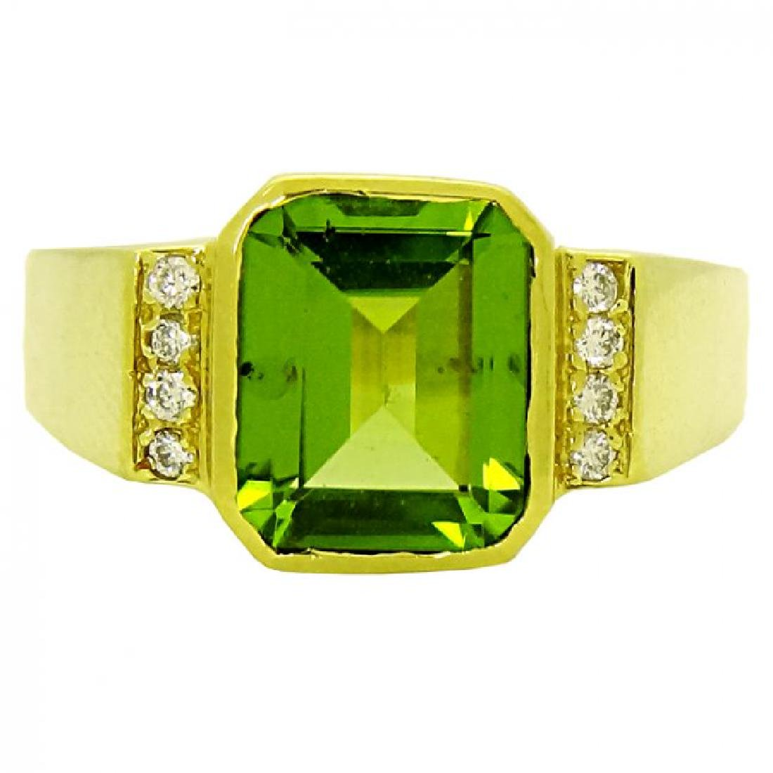 18k Yellow Gold Peridot center stone and Diamond Ring