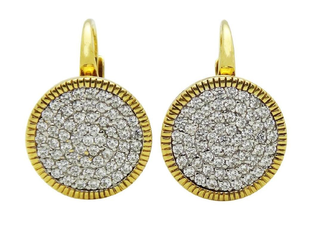 18K Yellow Gold Round White Cubic Zirconia Earrings
