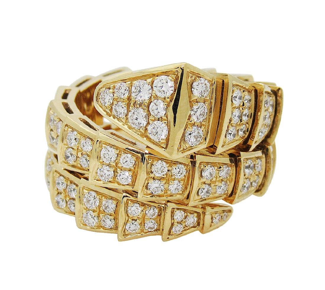 Bulgari Seprenti 18k Yellow Gold & Pave Diamond Ring