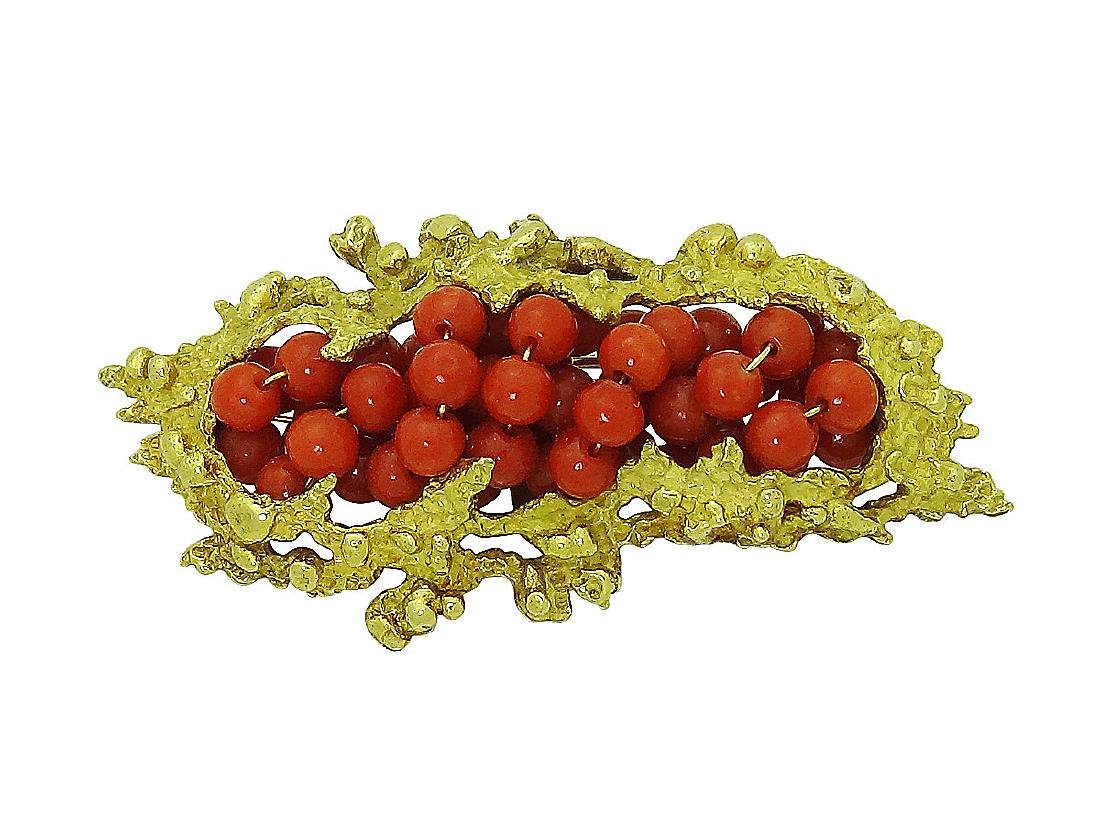 Estate LJ Designer 18K Yellow Gold Coral Pin Brooch