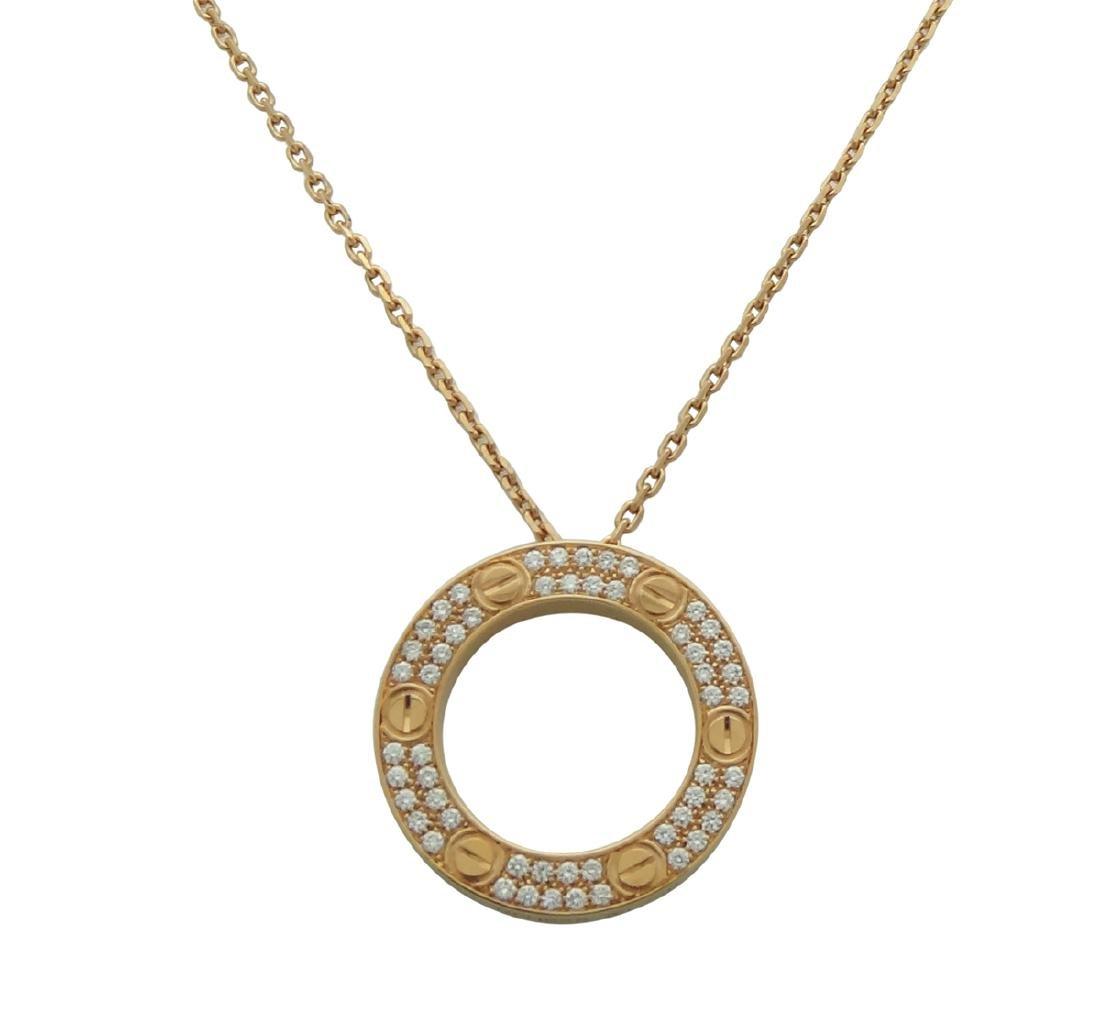 Cartier 18K Pink Gold Diamond LOVE Necklace