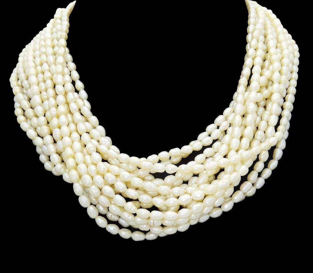 Estate 16 Strand Pearl & 14k Gold & Diamond Necklace