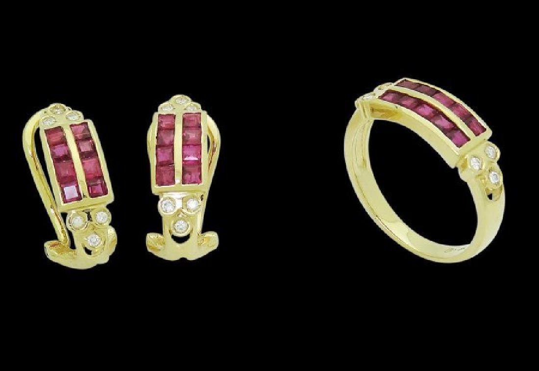 18k Gold 2.50 TCW Ruby & Diamond Set Earrings & Ring