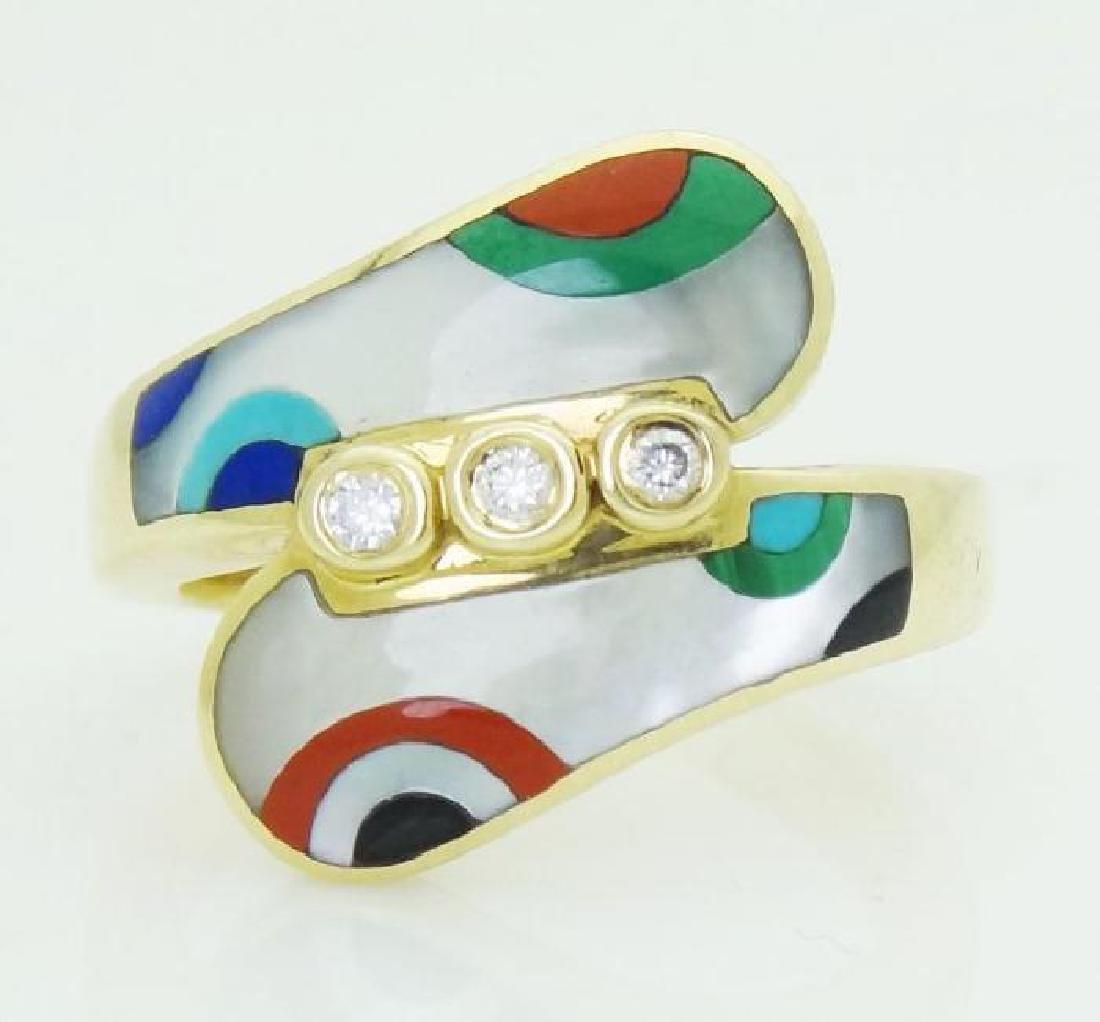 Gorgeous 14K Yellow Gold Enamel And Diamond Ring Size 7