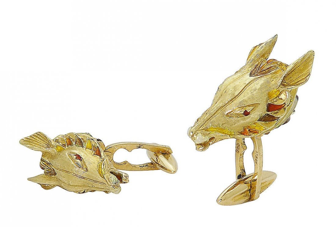 Estate 18k Gold Red & Yellow Enamel Horse Cufflinks