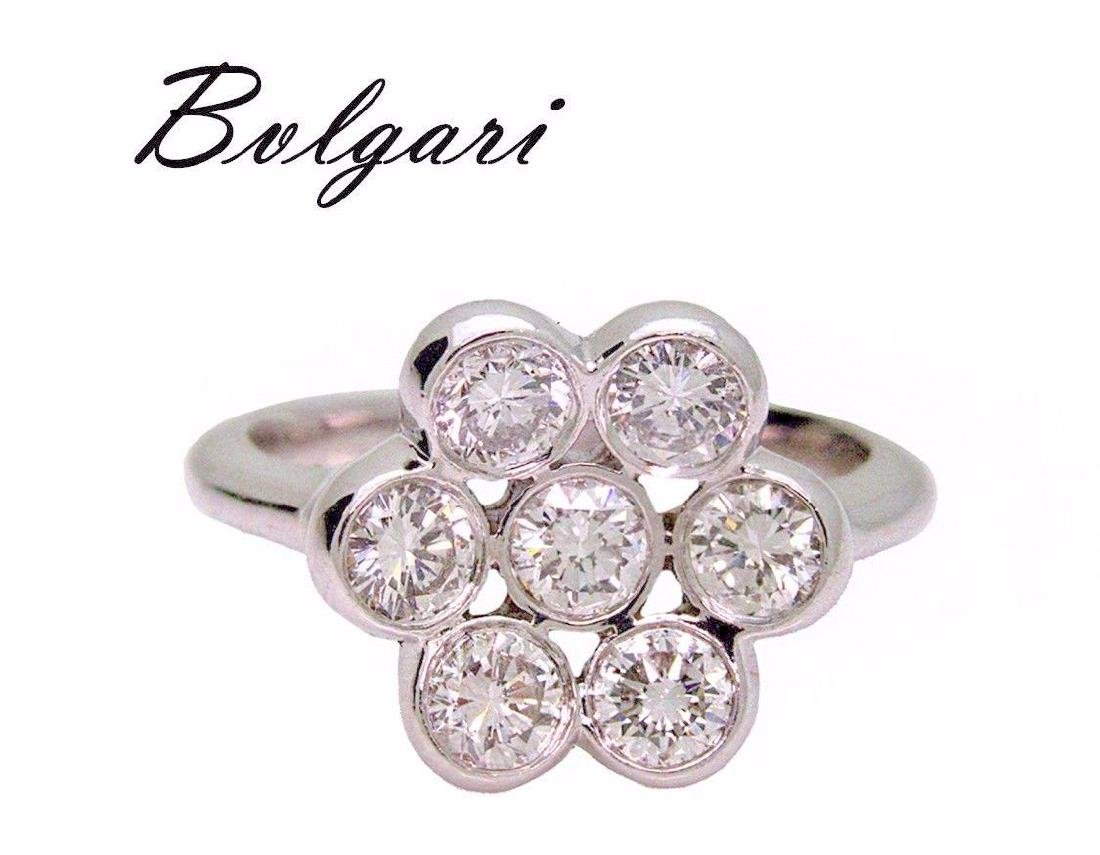 Bulgari Platinum 950 1.40 TCW VS E Diamond Flower Ring