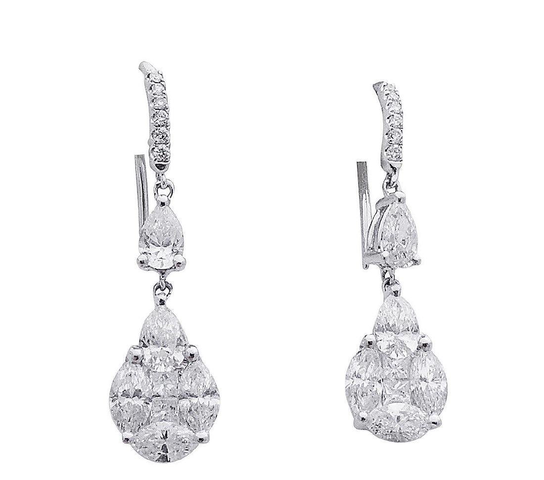 18k 4.27 TCW Diamond Drop Dangle Earrings