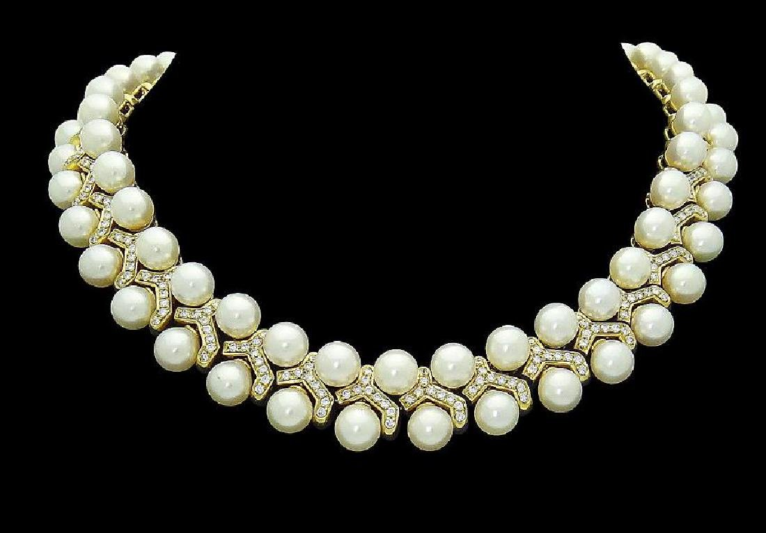 Designer 18K Gold Diamond & Cultured Pearl Necklace