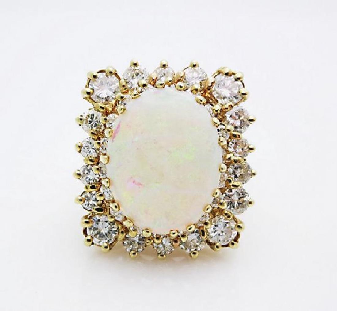 18K YELLOW GOLD OPAL & DIAMOND RING