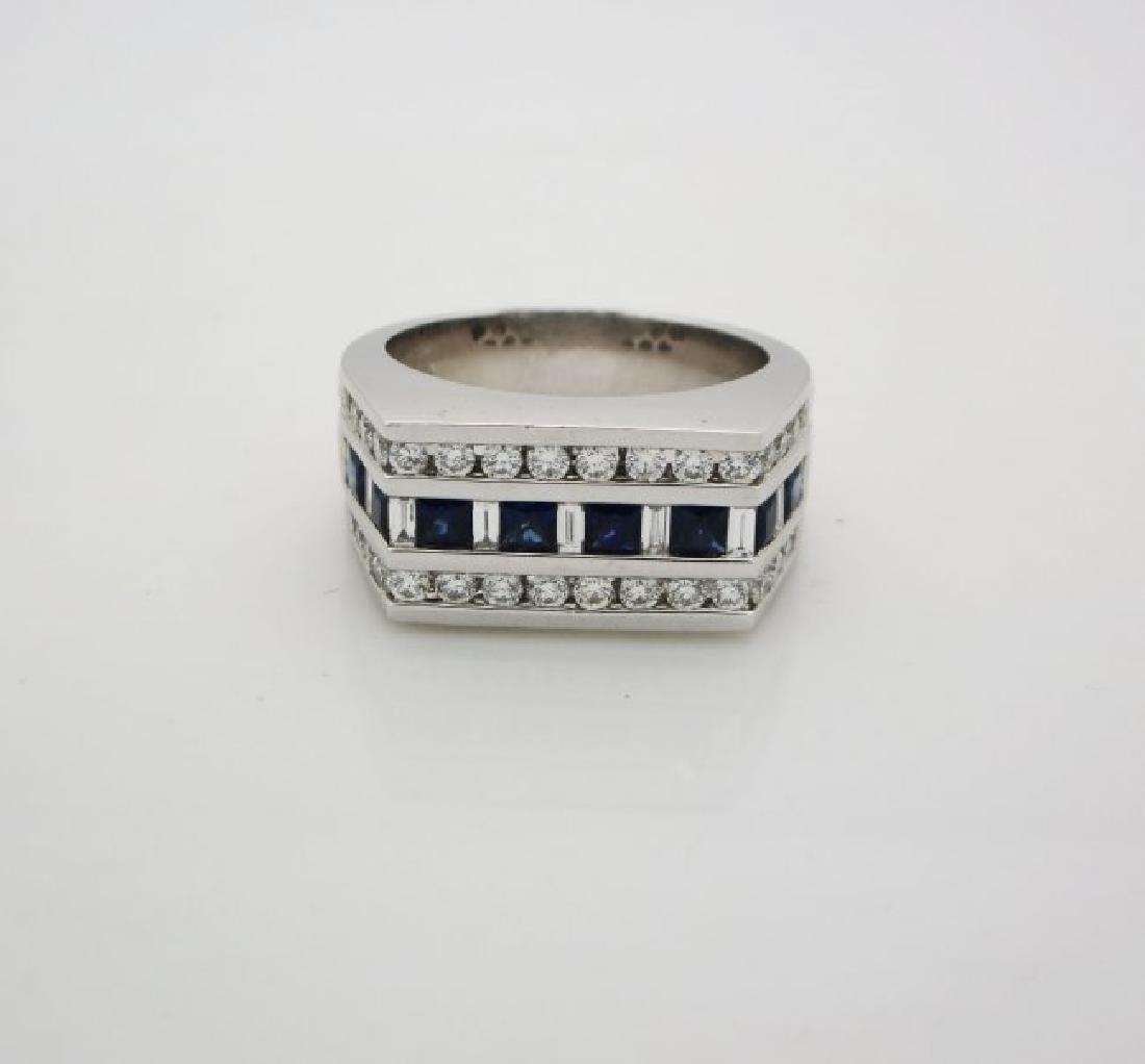Men's 14K Gold White Diamonds Blue Sapphire Ring