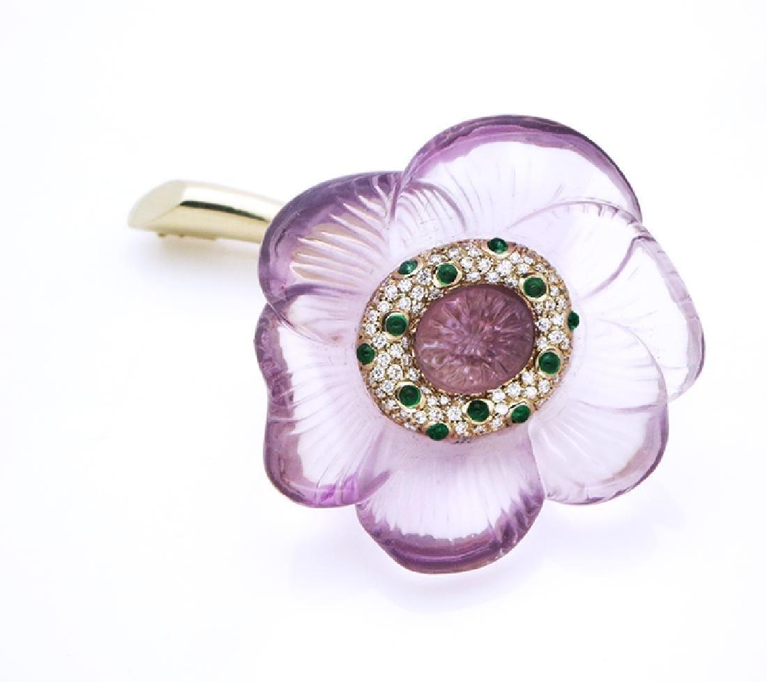 18K AMETHYST EMERALDS DIAMOND FLOWER BROCH, PAVE