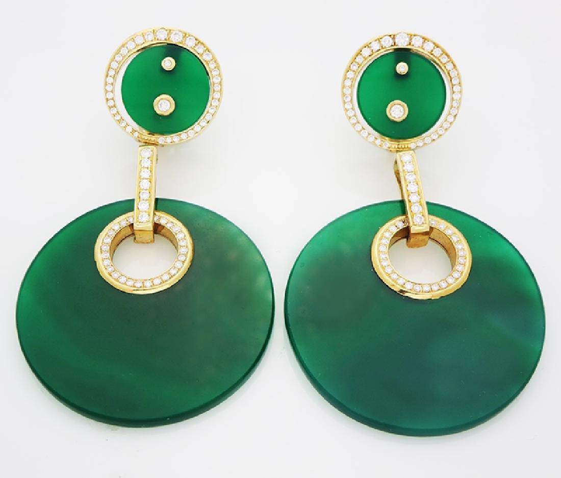 18K Gold Calcedony center Round Diamond Halo Earrings