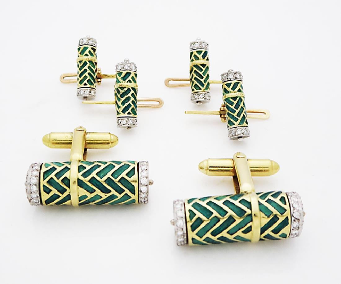 18K Gold Diamonds Green Enamel set cufflinks & buttons