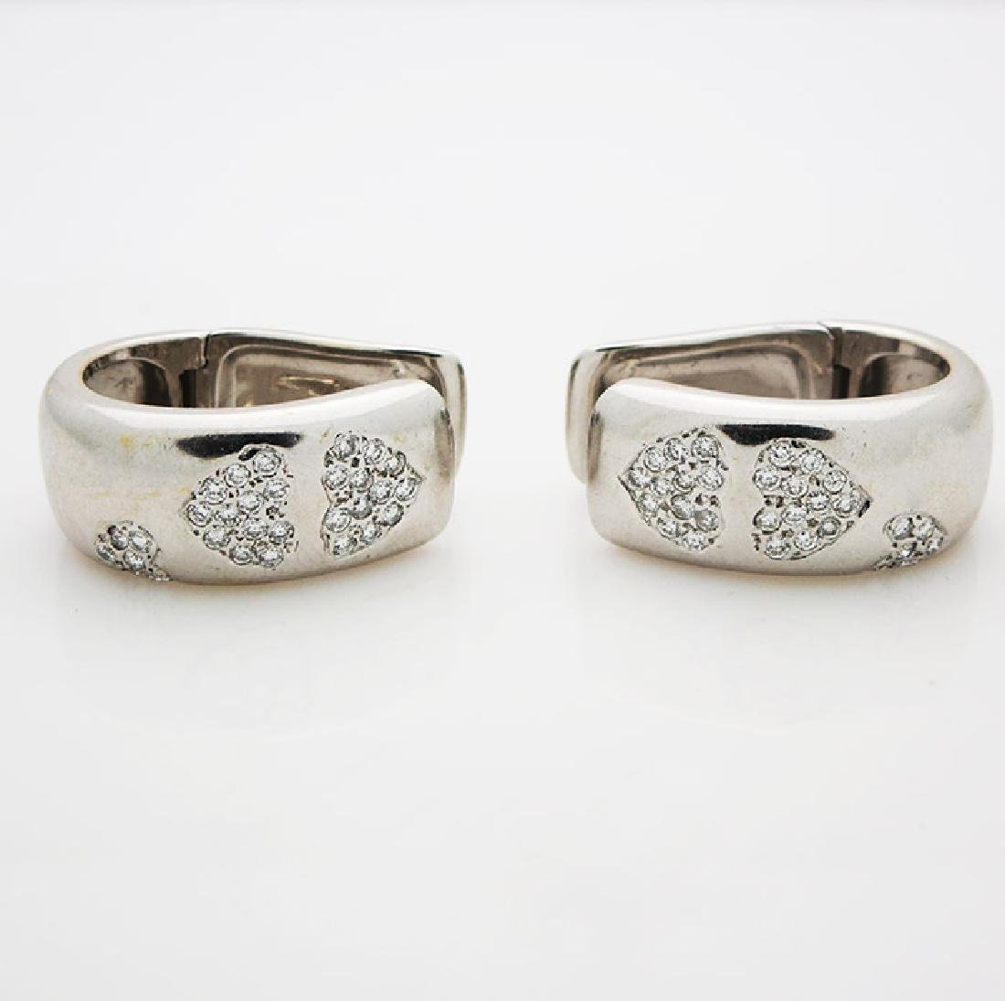 18K White Gold Earrings with Heart Form Set of Diamonds
