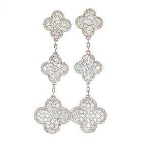 Van Cleef Arpels 18k Magic Alhambra Diamond Earrings See Sold Price