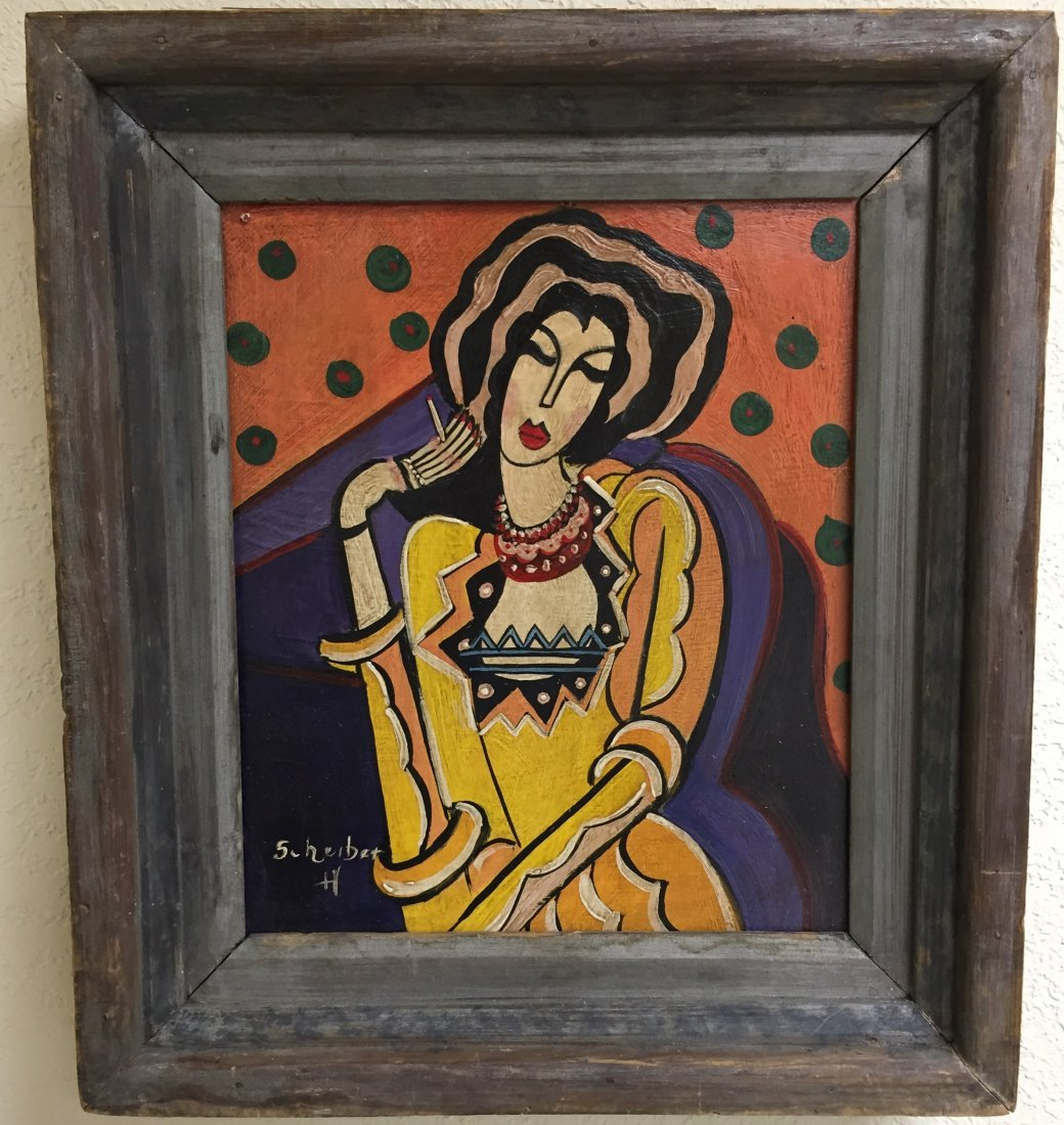 HUGO SCHEIBER OIL PAINTING LADY HOLDING CIGARETTE