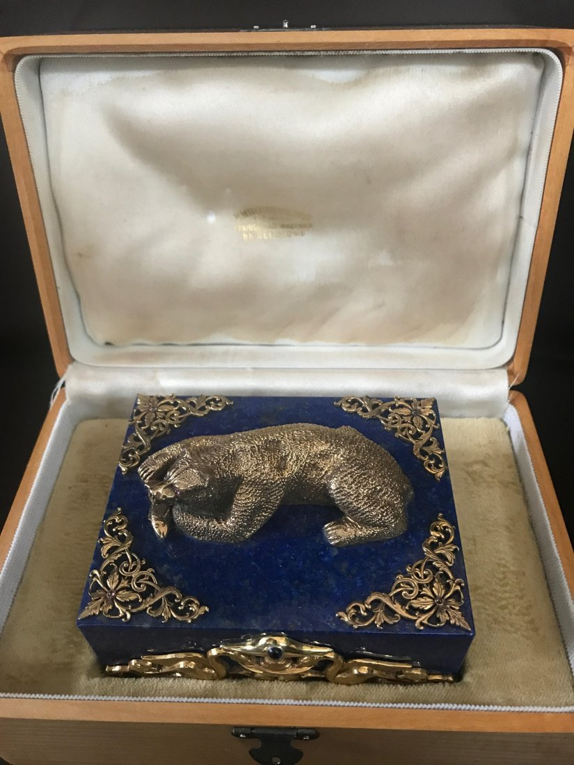 RUSSIAN LARGE SILVER LAPIS BOX WITH STONES