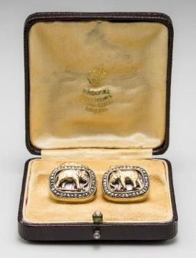 Russian Silver Diamond Enamel Elephant Cufflinks