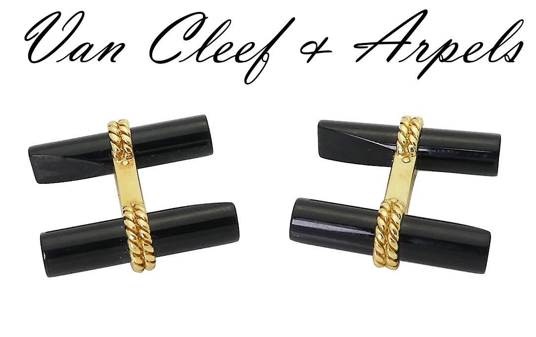 Van Cleef & Arpels 18k Yellow Gold Black Onyx Cufflinks