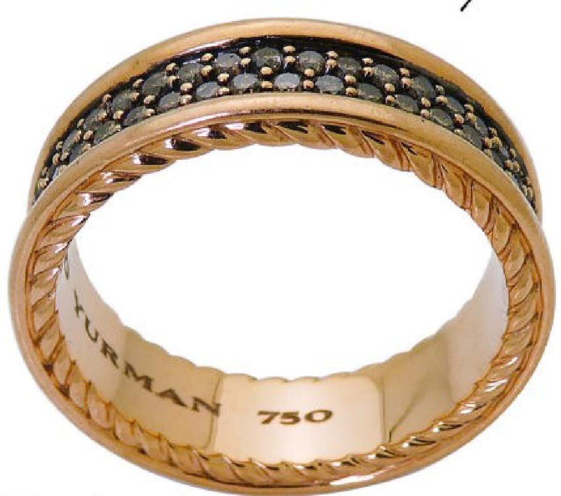 David Yurman 18K Two-Row Cognac Diamond Ring 7mm - 2