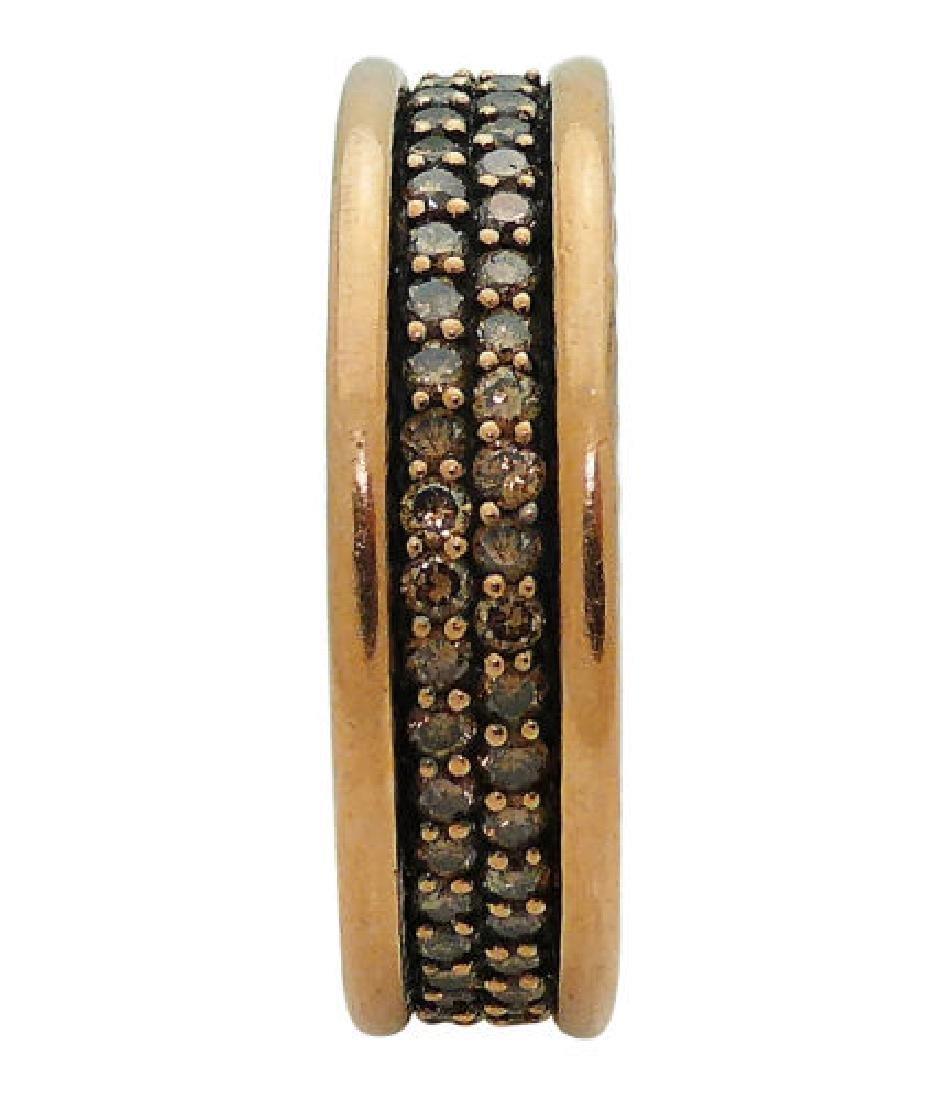 David Yurman 18K Two-Row Cognac Diamond Ring 7mm - 4