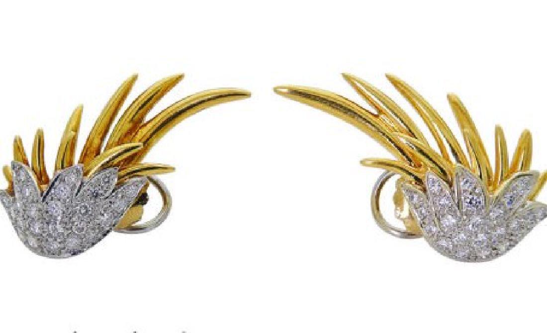 Plat & 18k Gold 2.5 TCW Brilliant Diamond Wing Earrings